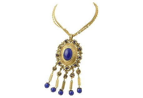 Faux-Lapis & Gold Statement Necklace