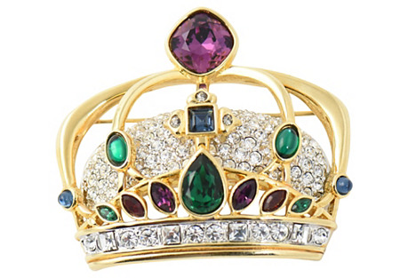 Swarovski Crystal Crown Brooch