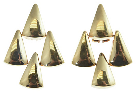 14K Gold Triangle Drop Earrings