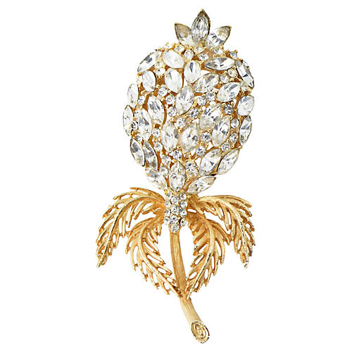 Large Crystal & Gold Flower Brooch