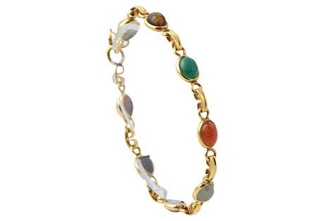 Scarab Gemstone Gold-Filled Bracelet