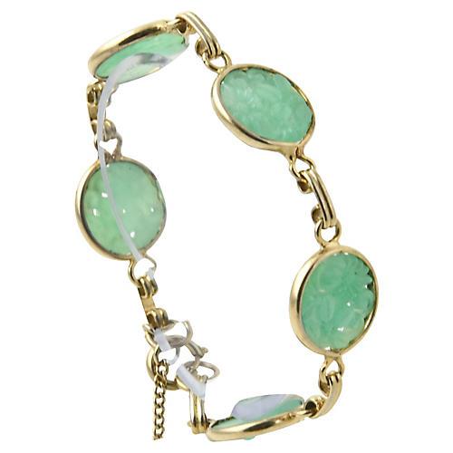 Carved Floral Faux-Jade Gold Bracelet