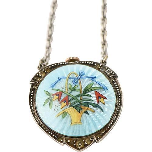 Antique Enamel Pendant Watch Necklace