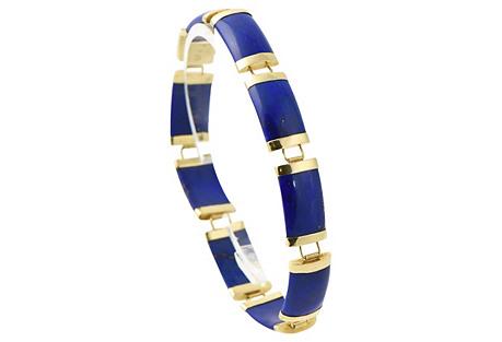 Chinese Lapis & Gold Link Bracelet