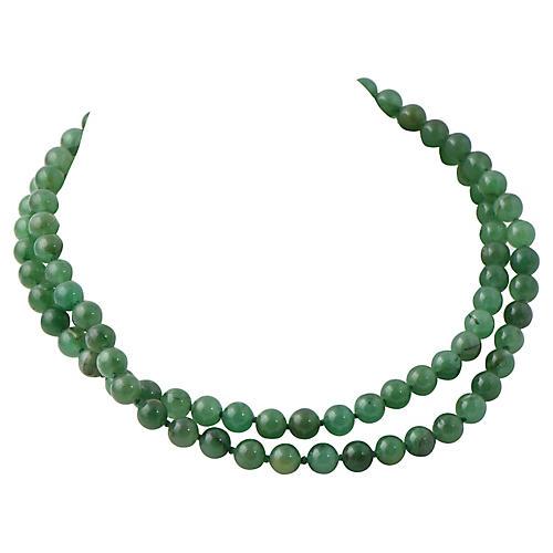 2-Strand Chrysoprase & Gold Necklace