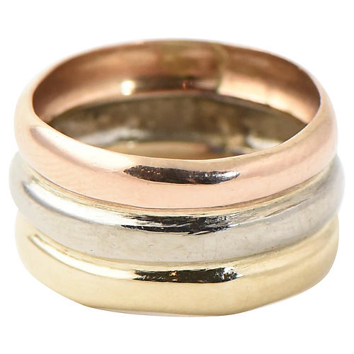 Wide Tri-Color Gold Single Band Ring