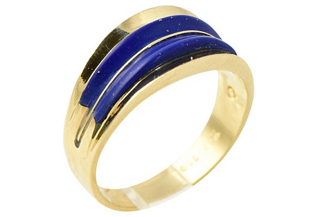 1960s Inlaid Lapis & Gold Ring