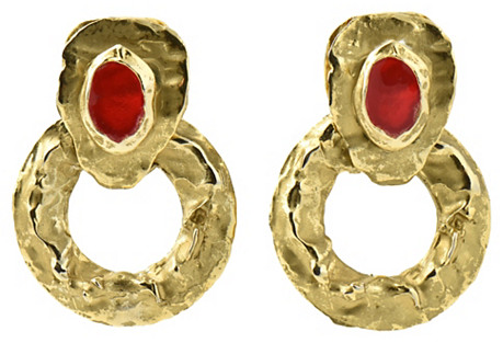 1980s Goldtone & Red Statement Earrings