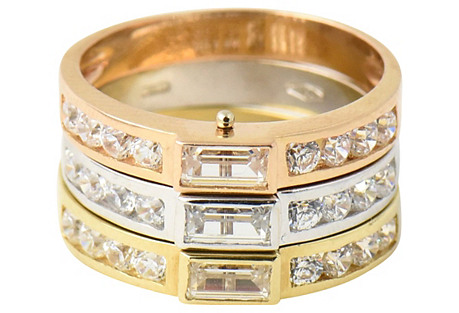 Tri-Color Gold & Simulated Diamond Ring