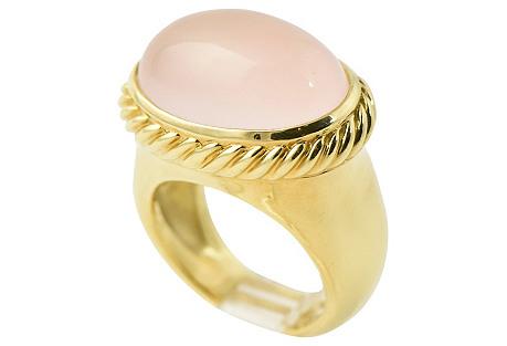 Yurman Rose Quartz & Gold Signature Ring