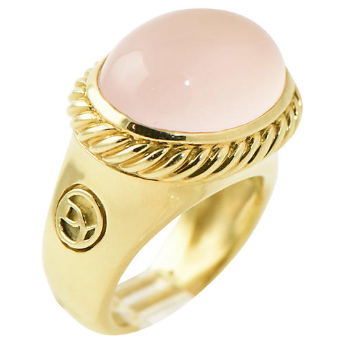 Yurman Rose Quartz & Gold Ring