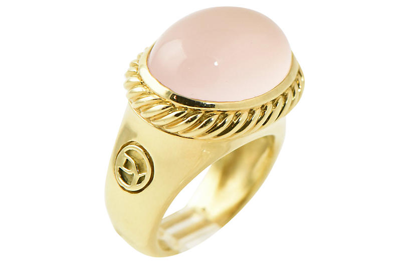 Yurman Rose Quartz & Gold Ring