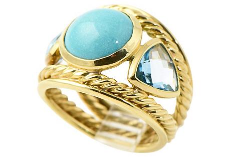 Yurman Topaz, Turquoise & Gold Ring