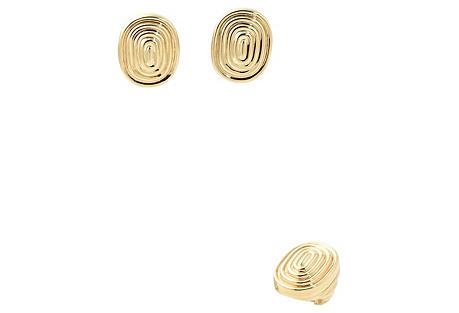 Ridged 14K Gold Earrings & Ring