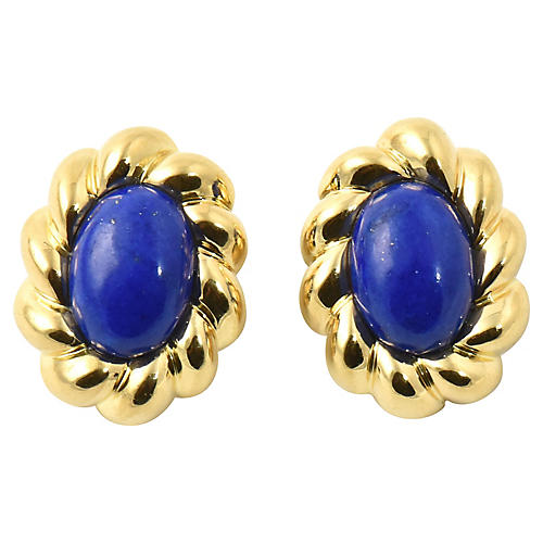 Lapis & Sculpted Gold Clip Earrings