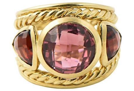 Yurman Rubellite & Garnet Gold Ring