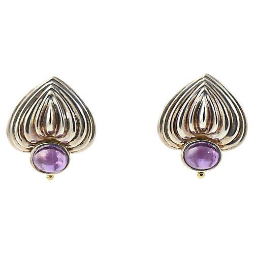 Caviar Silver & Amethyst Heart Earrings