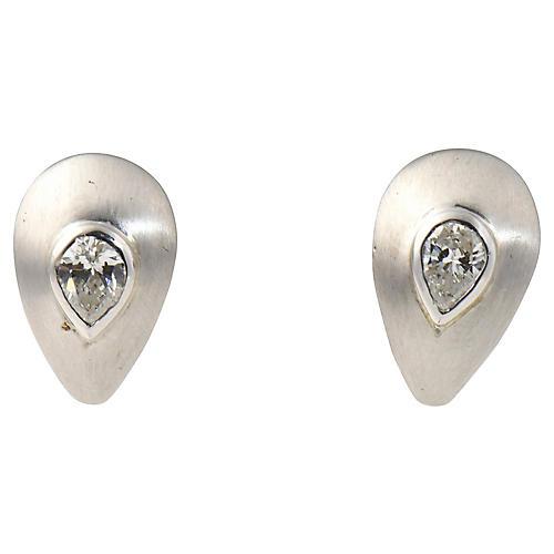 Brushed Gold & Diamond Teardrop Earrings
