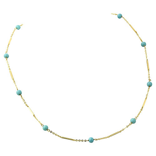 14K Gold Turquoise Bead Necklace