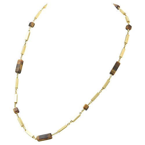 Tiger's Eye & Gold Bar Necklace