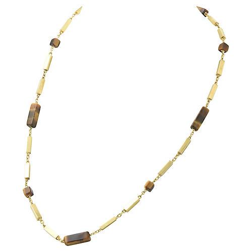 Tiger's Eye & Gold Bar Necklace