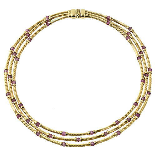 David Yurman Amethyst & Gold Necklace