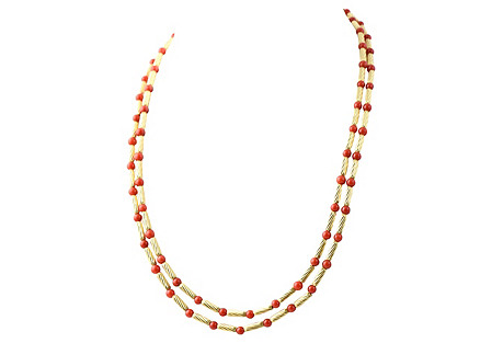 Long Yurman Coral & Gold Cable Necklace