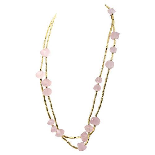 Yurman Rose Quartz & Gold Necklace