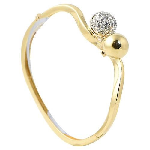 Midcentury Gold & Diamond Bracelet