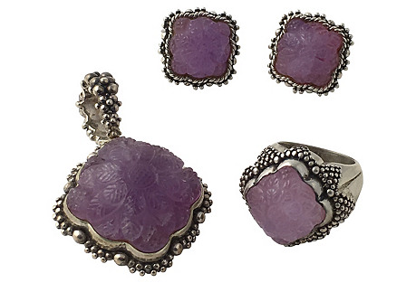 Dweck Amethyst Earrings, Ring & Pendant