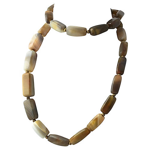 Long Banded Agate Bead Necklace