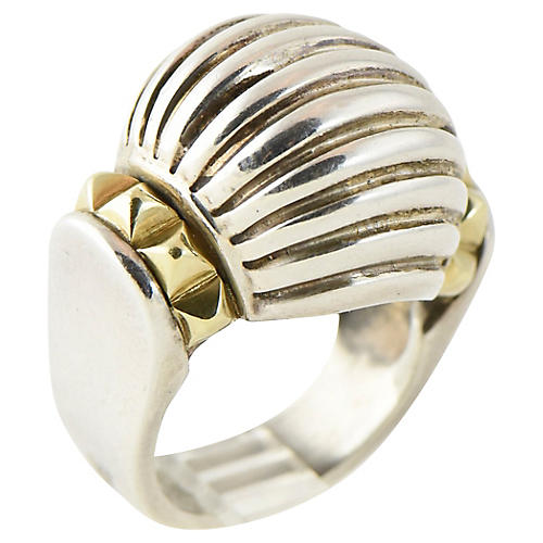 Caviar Lagos Silver & Gold Dome Ring