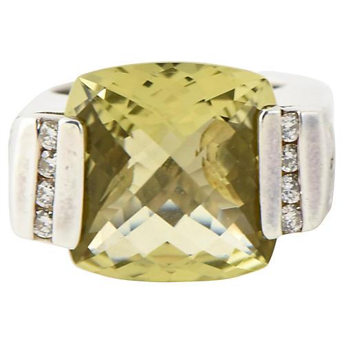 Yurman Quartz & Diamond Deco Ring