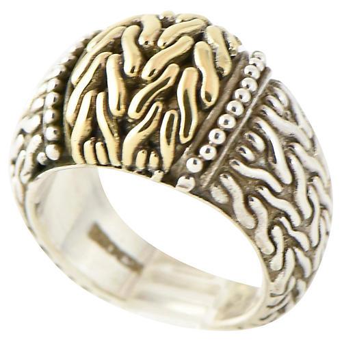 John Hardy Silver & Gold Woven Ring