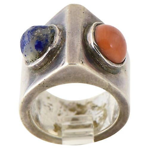 Modernist Sterling Silver & Stone Ring