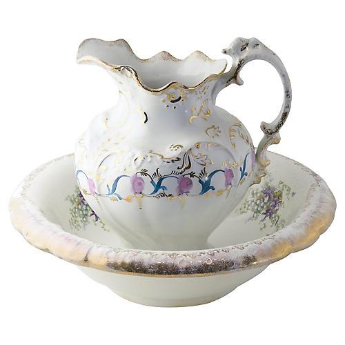 Victorian Porcelain Pitcher & Basin, S/2