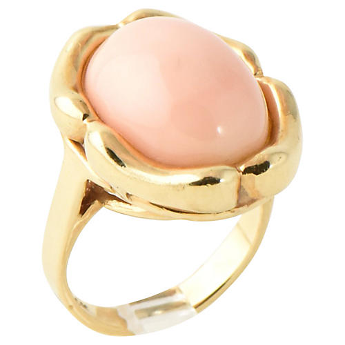 14K Gold & Angel Skin Coral Ring