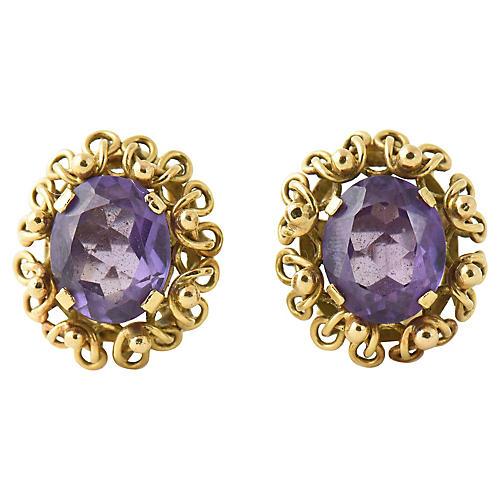 Amethyst & 14K Gold Clip Earrings