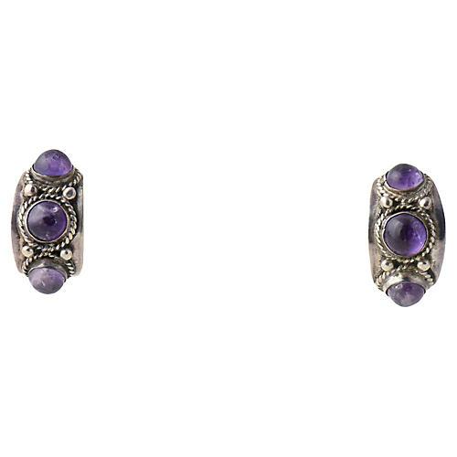 Modernist Amethyst & Silver Earrings
