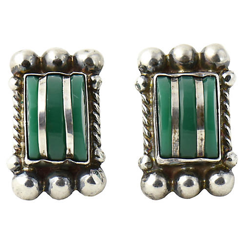 Green Onyx & Sterling Earrings