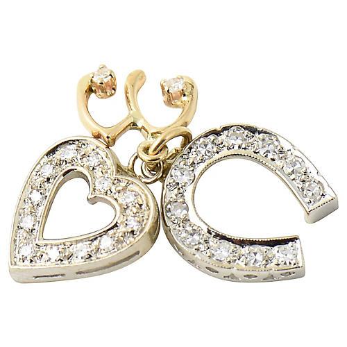14K Gold & Diamond Good Luck Charms