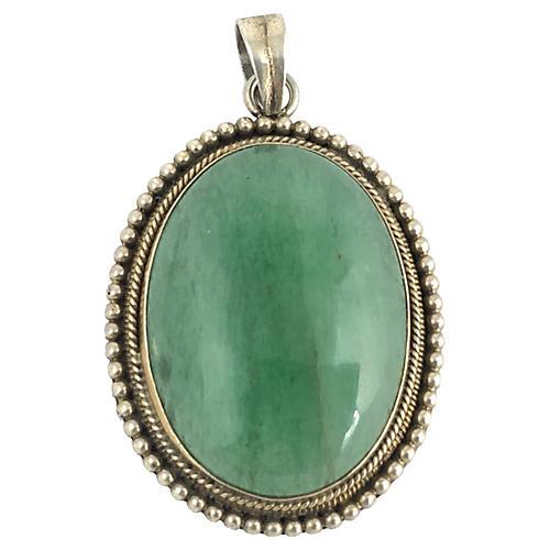 Green Fluorite & Sterling Pendant