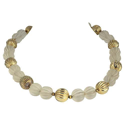 1970s Crystal & Goldtone Beaded Necklace