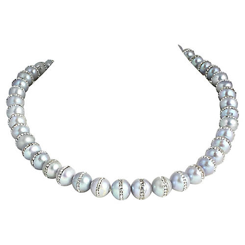 Gray Pearl & Rhinestone Bead Necklace