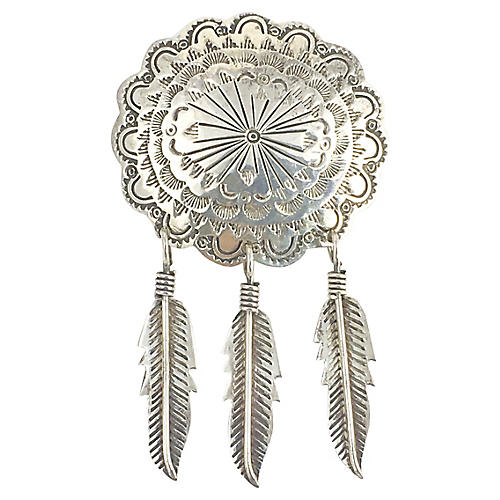 Mexican Sterling Feather Brooch