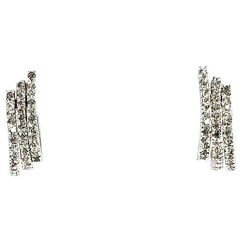 Panetta Crystal Triple-Hoop Earrings