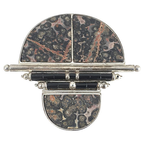 Naturalistic Stone, Onyx & Silver Brooch