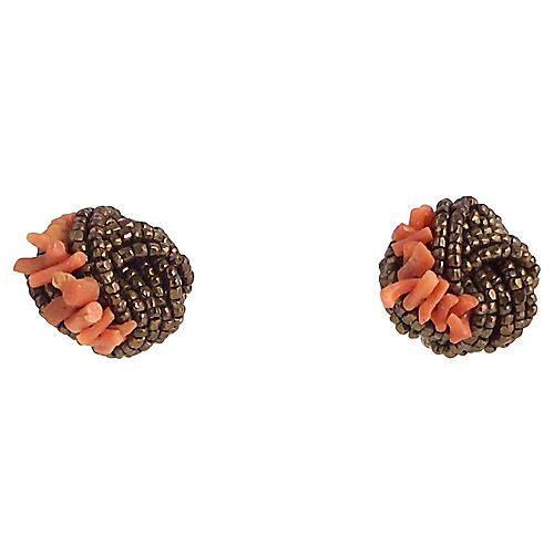 Bronze & Coral Knot Earrings