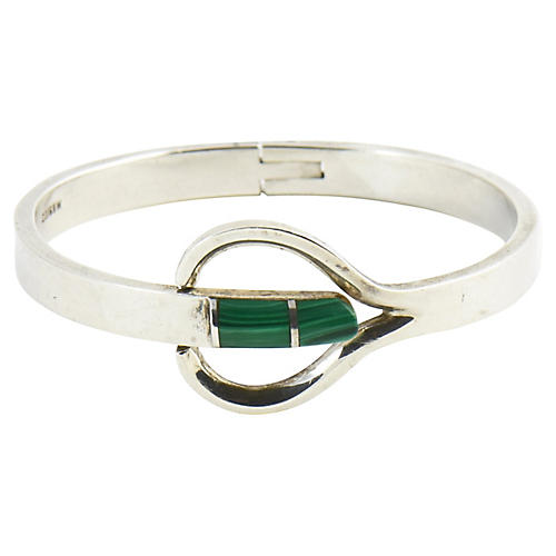 Modernist Malachite & Sterling Bracelet