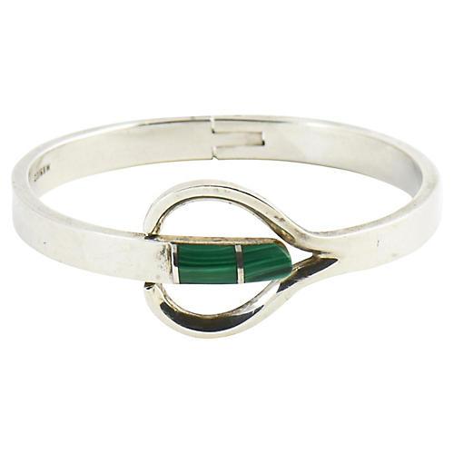Modernist Malachite & Sterling Bracelet